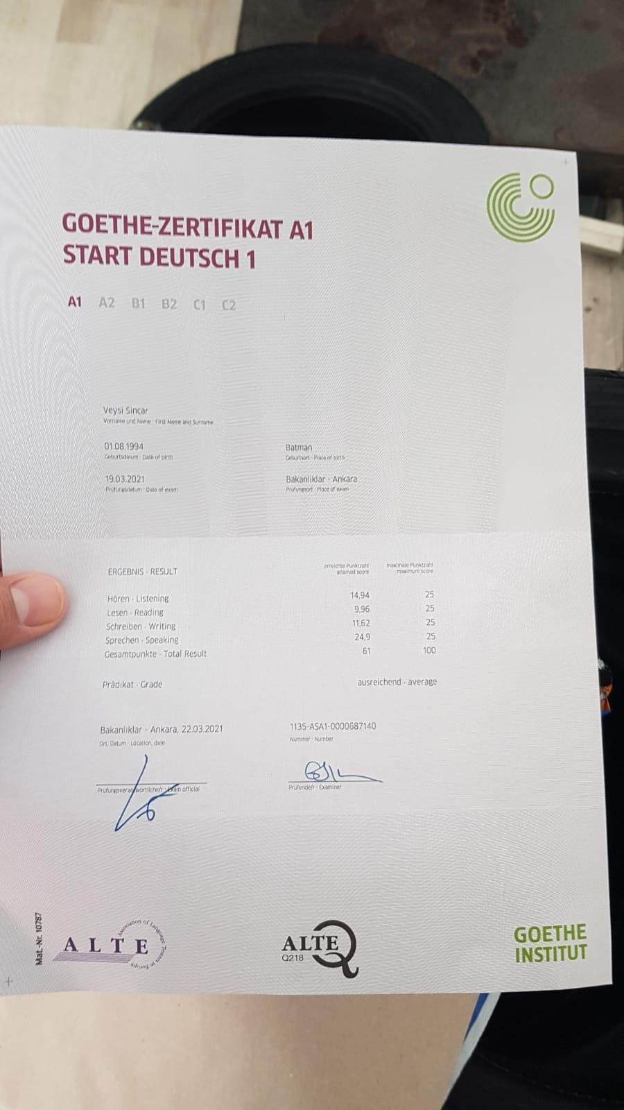 Test tunis goethe a1 ergebnisse institut DSH I